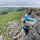 lead climbing on rock